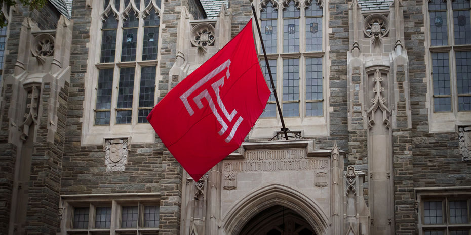 Temple Flag with Logo and Sullivan Hall