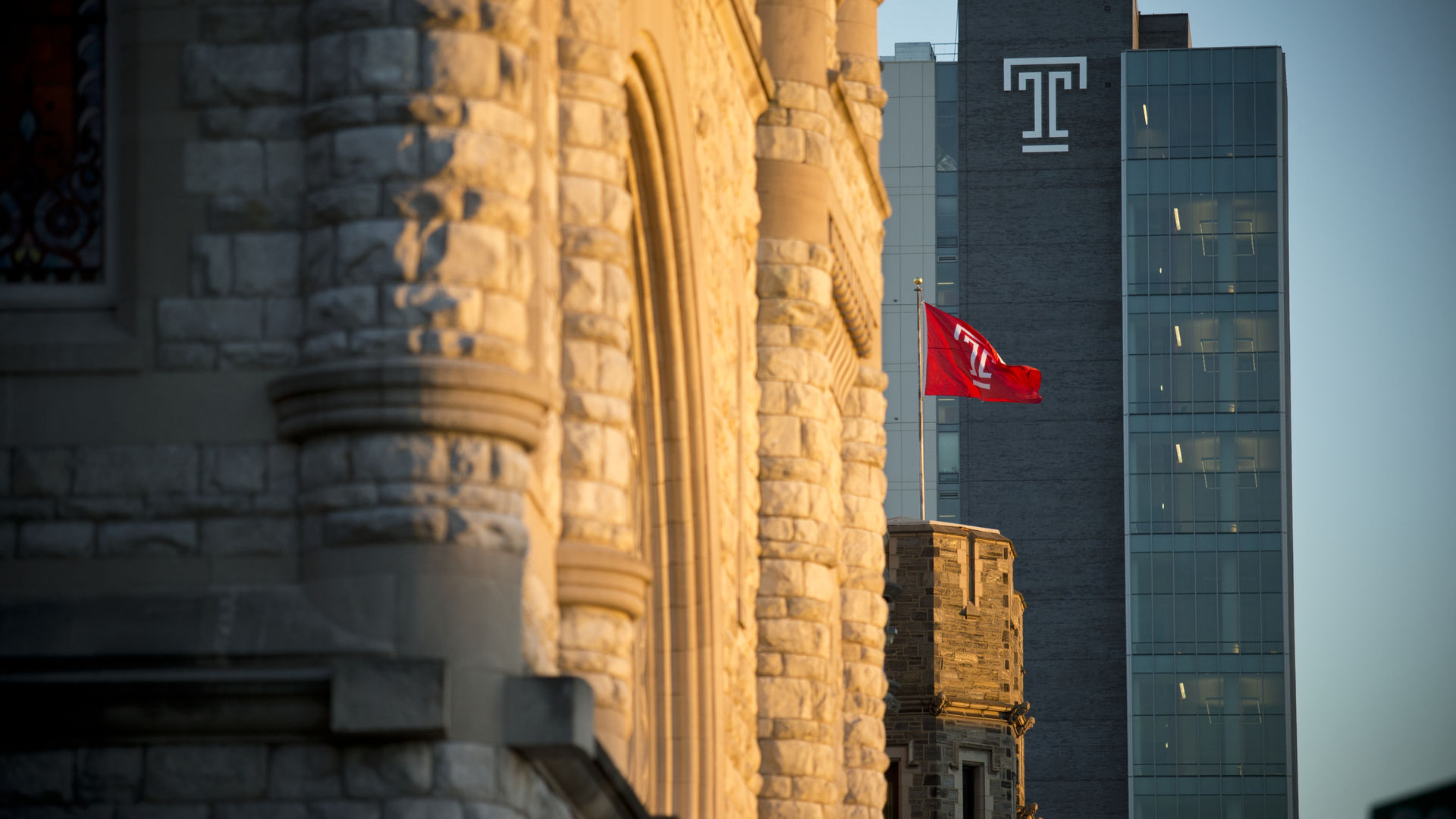 Sullivan and Morgan Halls with Temple Flag