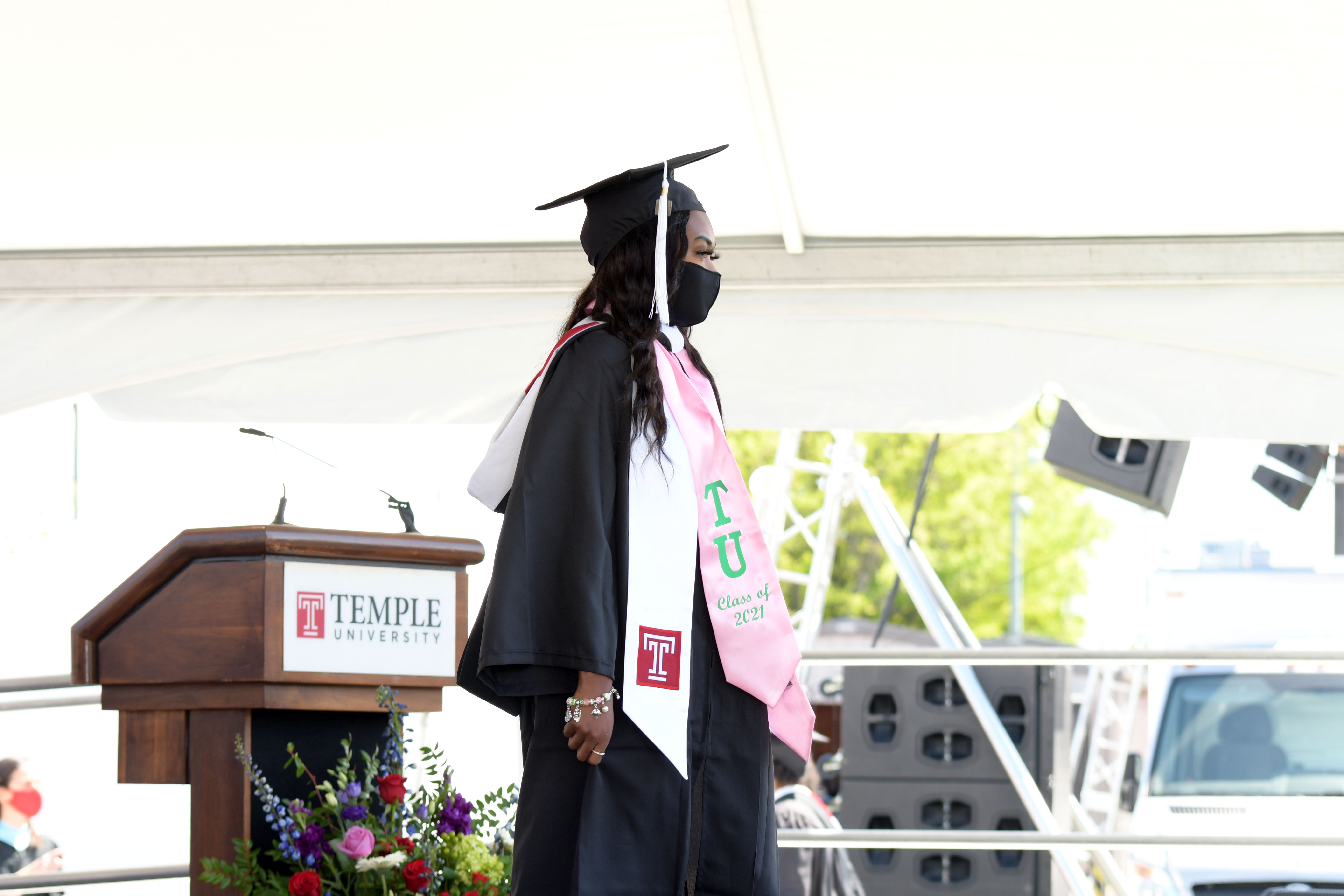 Graduate is recognized on stage
