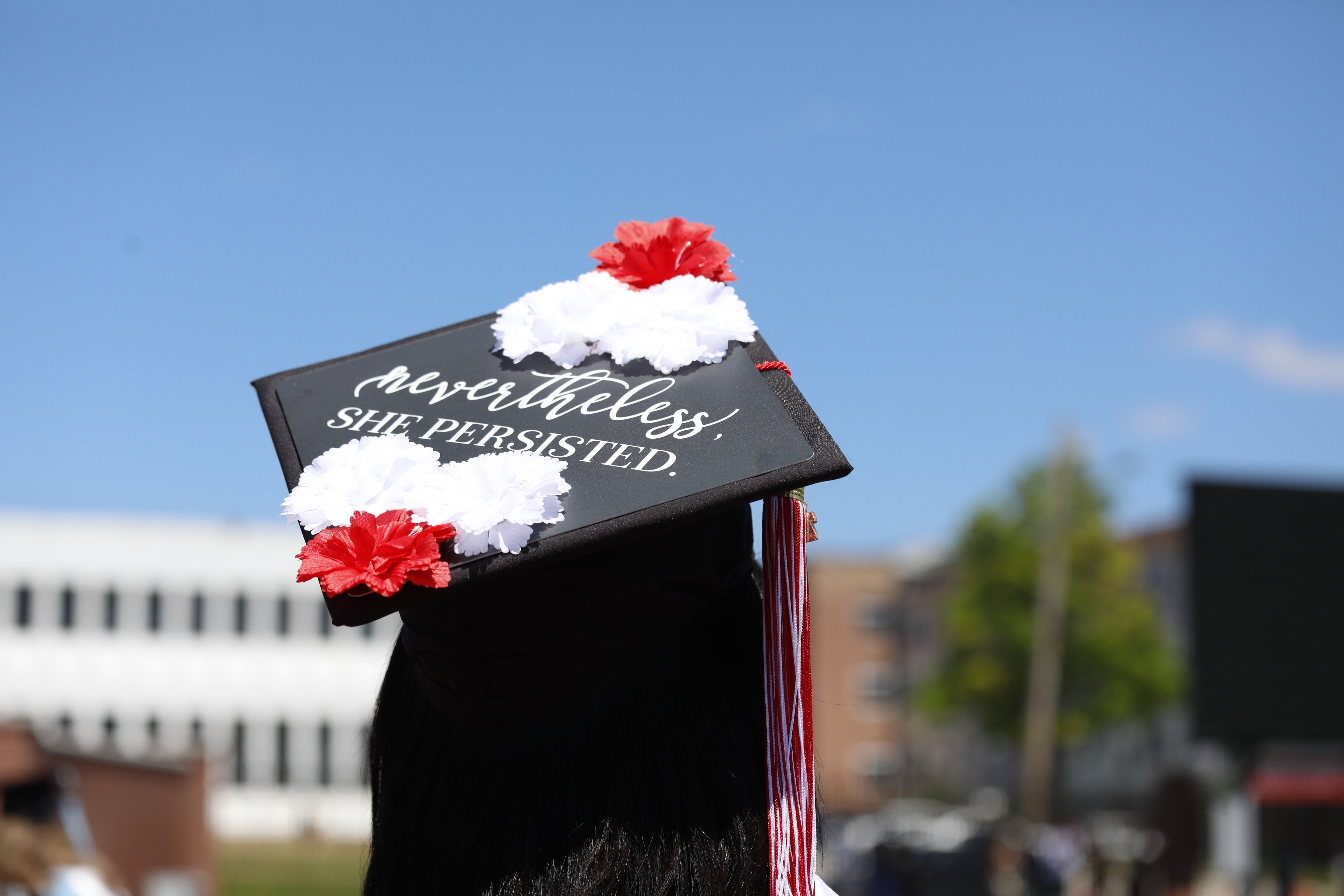 """graduation cap with text """"nevertheless, she persisted"""""""