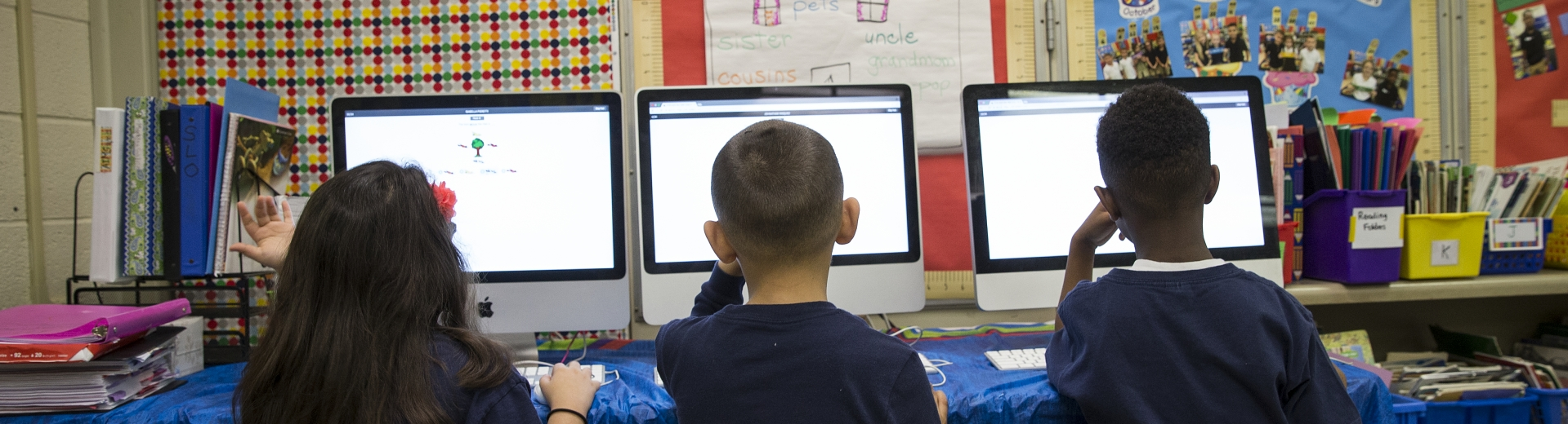 Students in classroom using computers