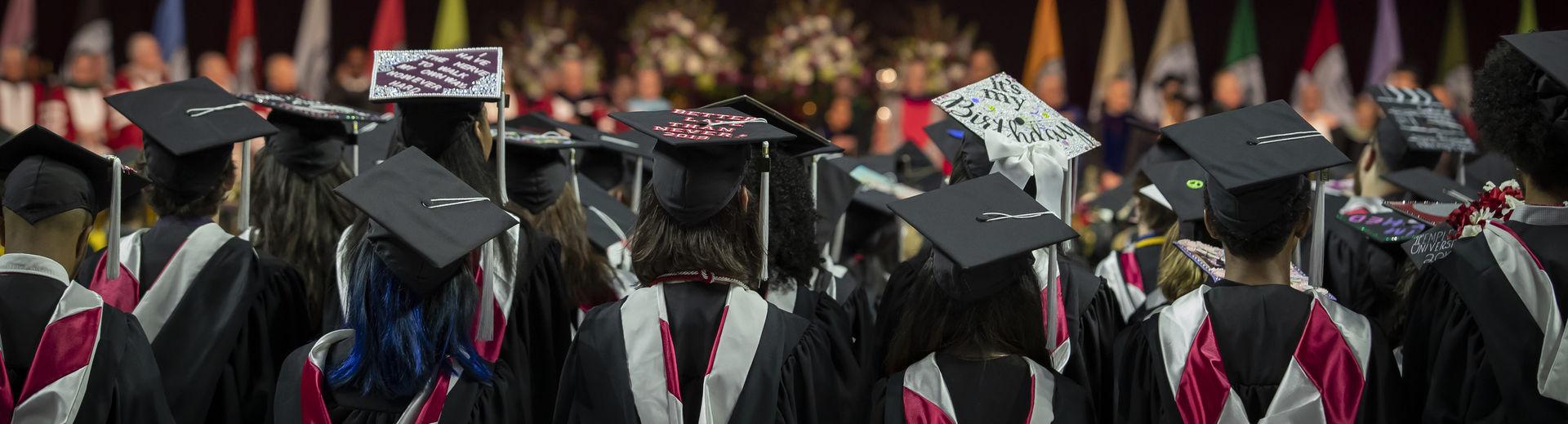 Temple graduates in stadium