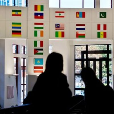 Students and flags
