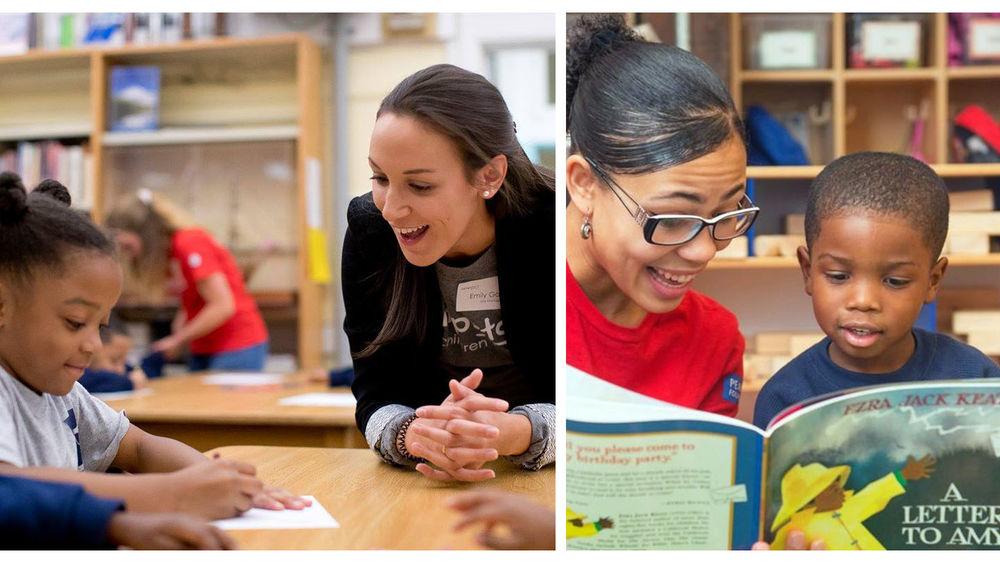 Jumpstart volunteers reading with students