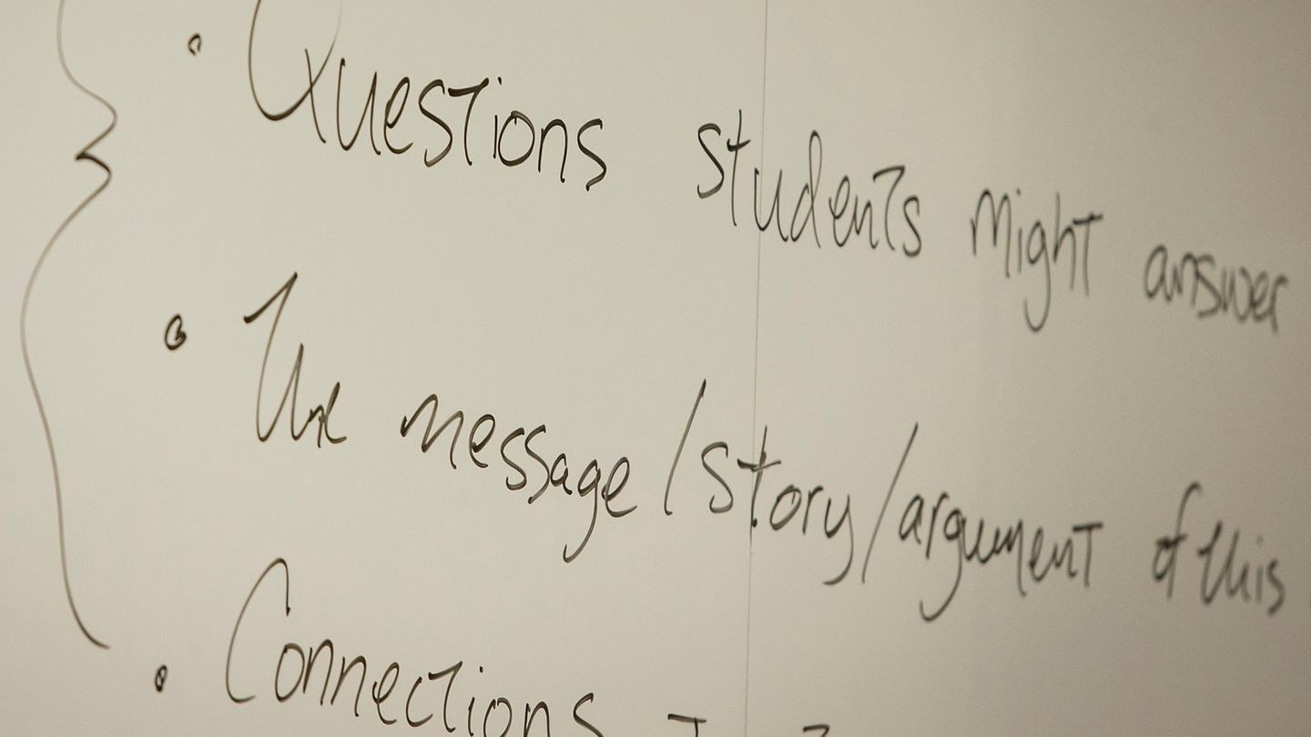 Questions on a White Board in Classroom